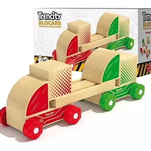 Trencity Madera Auto Con Bloques Vehículos Dobles Blocars