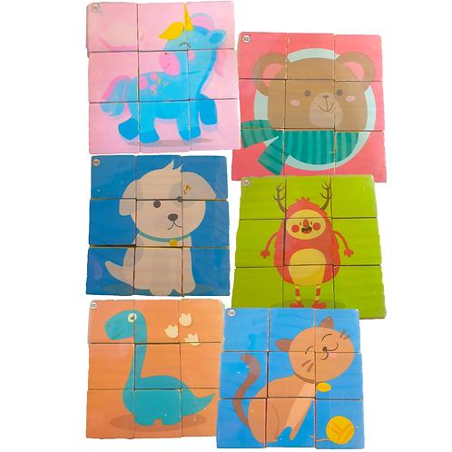 Rompecabezaspuzzle 9 Cubos Madera Didacticos Motricidad