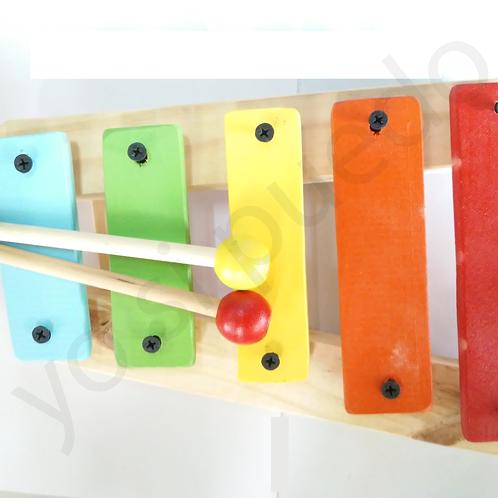 Xilofon De Madera Infantil 5 Teclas Estimulación Musical