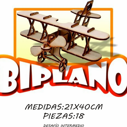 Rompecabezas Maqueta En Madera Avión Biplano 3d