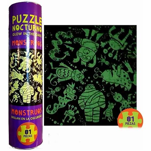Puzzle Nocturno Fluorescente Monstruos 81 Piezas
