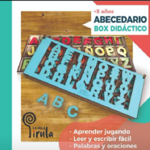 Caja de Letras De Madera Didácticas Lectoescritura