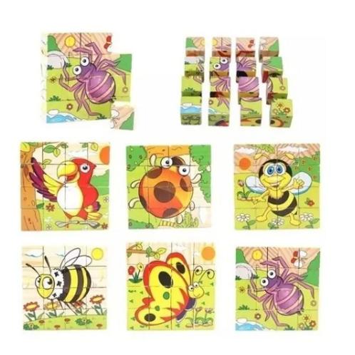 Puzzle Rompecabezas Infantil Encastr Cubos Madera Didáctico