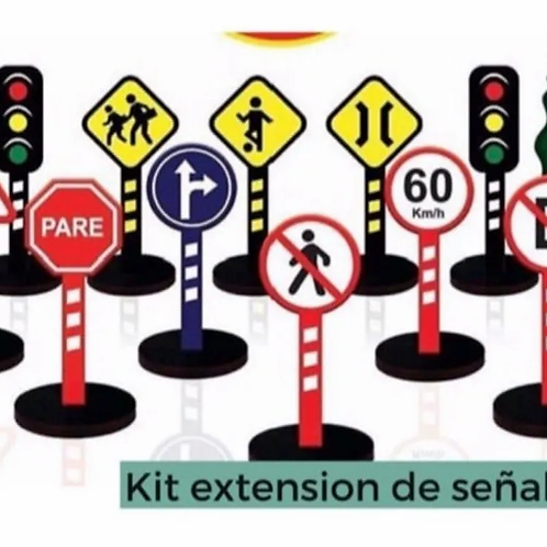 Señales De Tránsito Madera Accesorio P/calles Pista De Autos