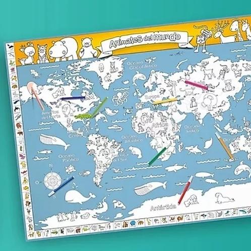Mapa Planisferio De Animales Para Pintar Mundo Didáctico