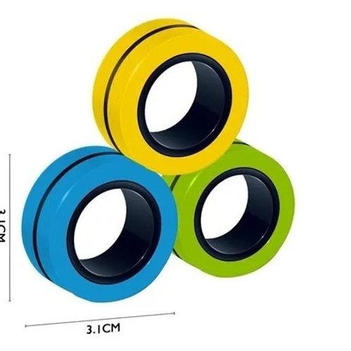 3 Anillos Magnéticos Fidget Toy Alivia La Ansiedad Estres