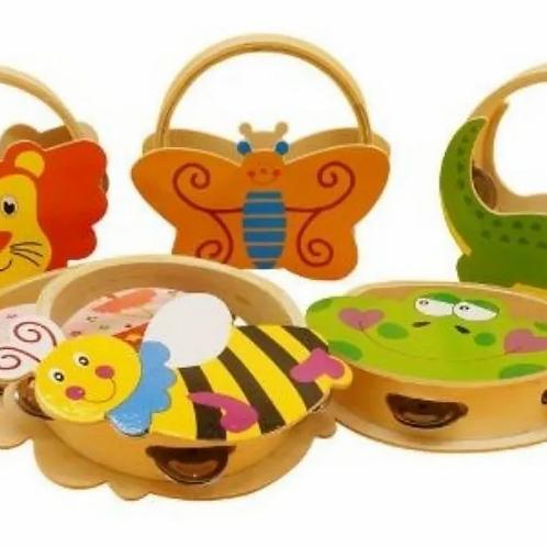 Pandereta De Madera Instrumento Infantil Música Con Manija