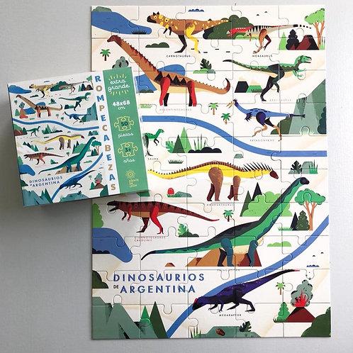 Rompecabezas Dinosaurios De Argentina 50 Pzas 48x68cm Didáct
