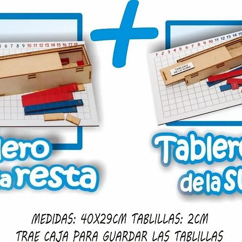 Kit Tabla De La Resta + Tabla De La Suma Sistema Montessori