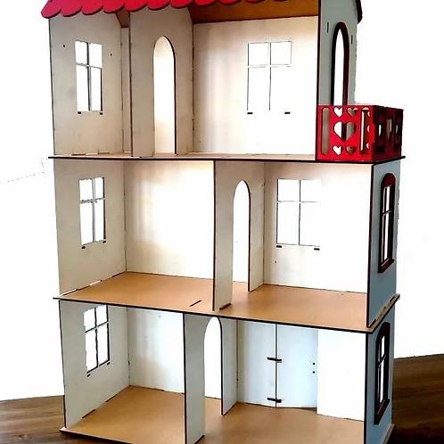 Casa Casita De Muñecas Madera Pintada- 76cm Juego Simbólico