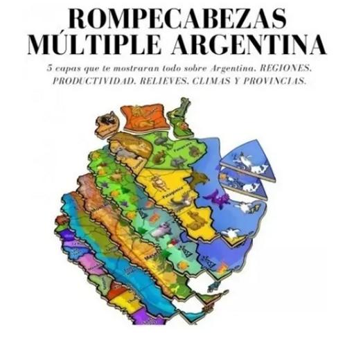 Rompecabezas Mapa Argentina 5 Capas Regiones Clima Didáctico