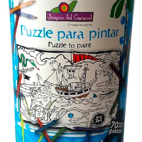 Puzzle Rompecabezas P/pintar Barco Piratas 70 Pzas