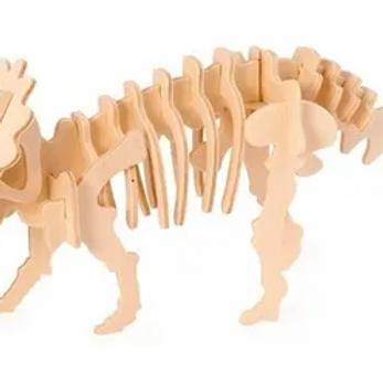 Rompecabezas Maqueta 3d De Madera Dinosaurios Triceratops