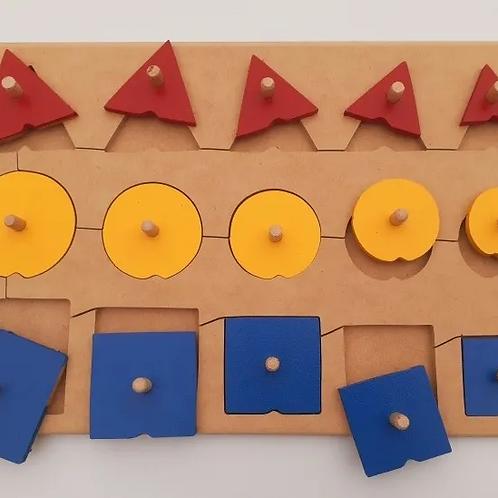 Encastre seriado 15 Formas Geometricas de Madera Didáctico