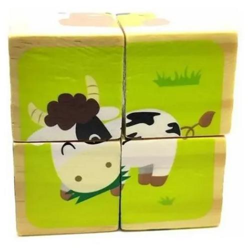 Puzzle Rompecabezas Infantil 4 Cubos Madera Didáctico