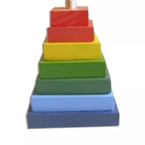 Torre Pirámide Didáctico Madera-motricidad Ensartado