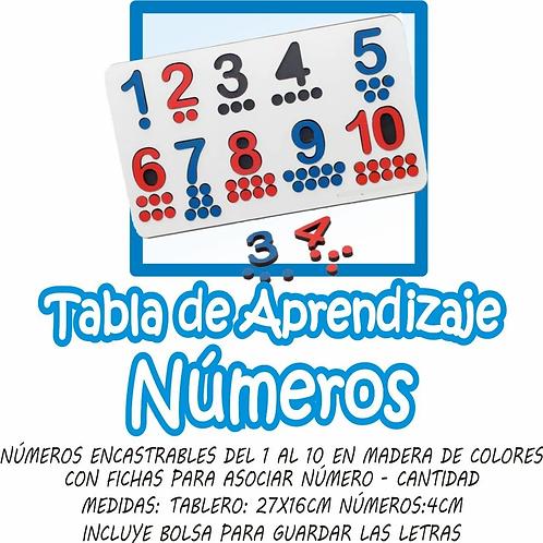 Encastre Tabla De Aprendizaje Números Matemática Montessori
