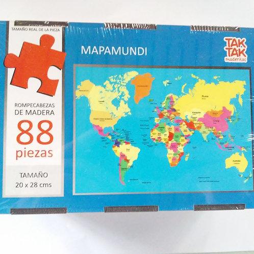 ROMPECABEZAS MAPA MUNDO MADERA 88 PIEZAS PEQUEÑAS