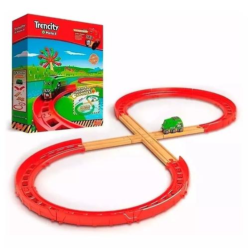Trencity Kit Avanzado Pista 8 Tren Madera 18 Pzs