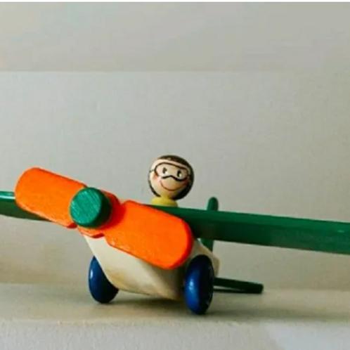 Avion De Madera Artesanal Arrastre Empuje Juego Simbolico