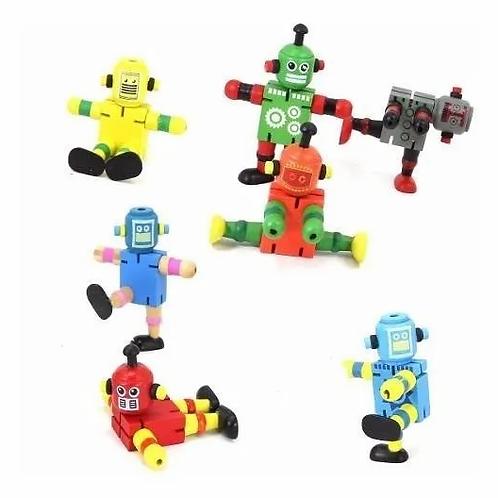 Robot De Madera Con Elástico Flexible