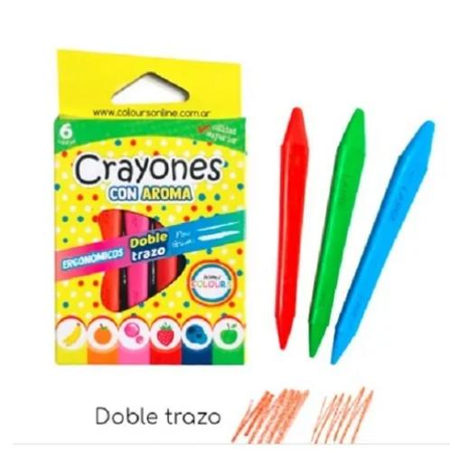 Crayon 2 Trazos C/aroma X 6 Motricidad Estimulac. Sensorial