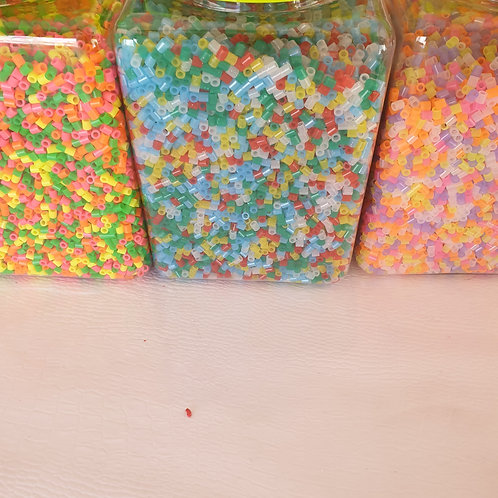 500 Hama Beads Neon-Glitter-Translucidos-Brillan De Noche