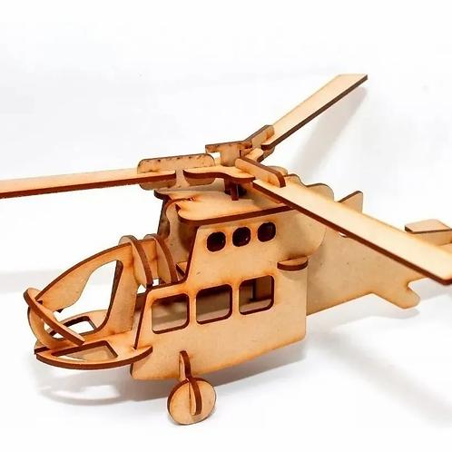 Rompecabezas 3d Helicóptero P. Armar Maqueta Madera