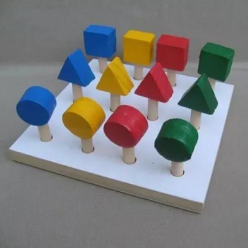 Plantado Figuras Geométricas En Madera Motricidad Fina Didácti