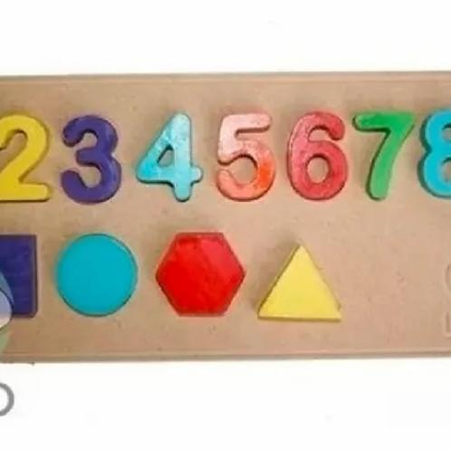 Encastre De Números Y Formas Geométricas Didáctico Motricida
