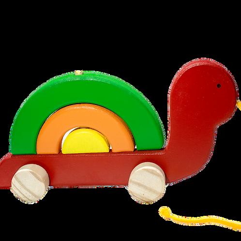 Tortuga Arrastre Y Encastre Madera Juguete Didactico Niños