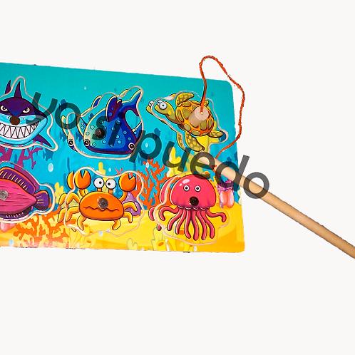 Encastre Juego De Pesca  Madera Motricidad Montessori