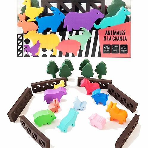 Animales De La Granja Goma Eva 22 Pzas Construcción Y Agua