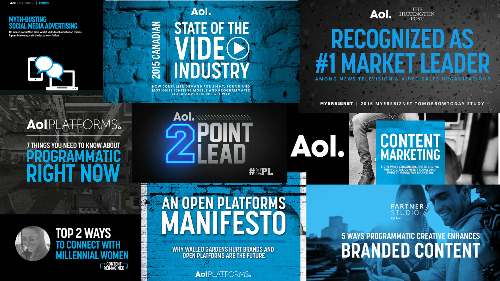 AOL digital ads, blog, covers