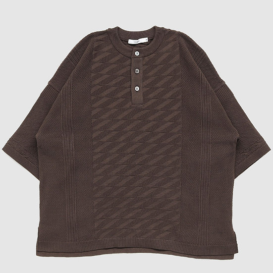 YASHIKI Seiryu Henley Knit(Brown)