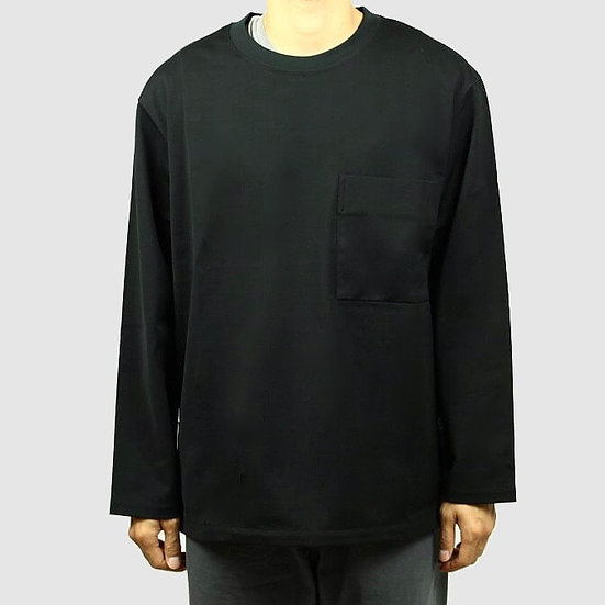 "CURLY&Co LONG SLEEVE TEE with ""CHU-SEN"" HEM (Black)"