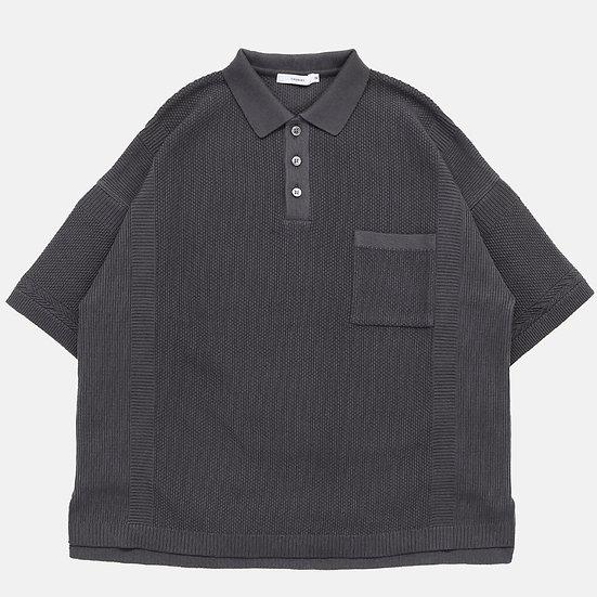 YASHIKI Satsuki Knit Polo (Charcoal)
