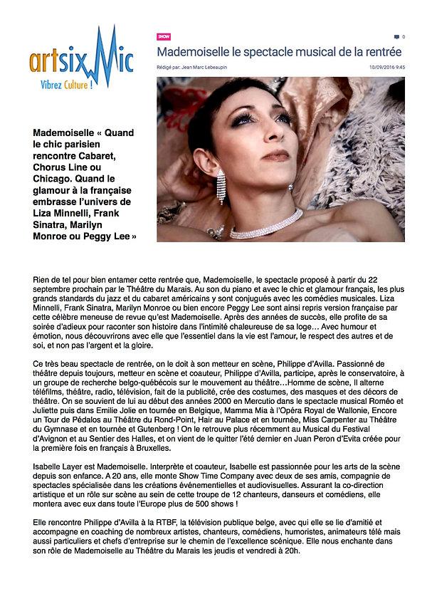 ArtisxMic parle de Mademoiselle - le spectacle musical, avec Isabelle Layer, Vincent Gaillard et mis en scène par Philippe d'Avilla au Théâtre du Marais Paris