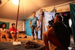 Lucas como Sara behind the scenes of the movie in Cuba
