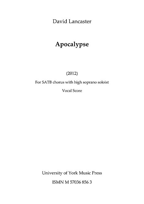 Apocalypse - for SATB chorus - published by UYMP