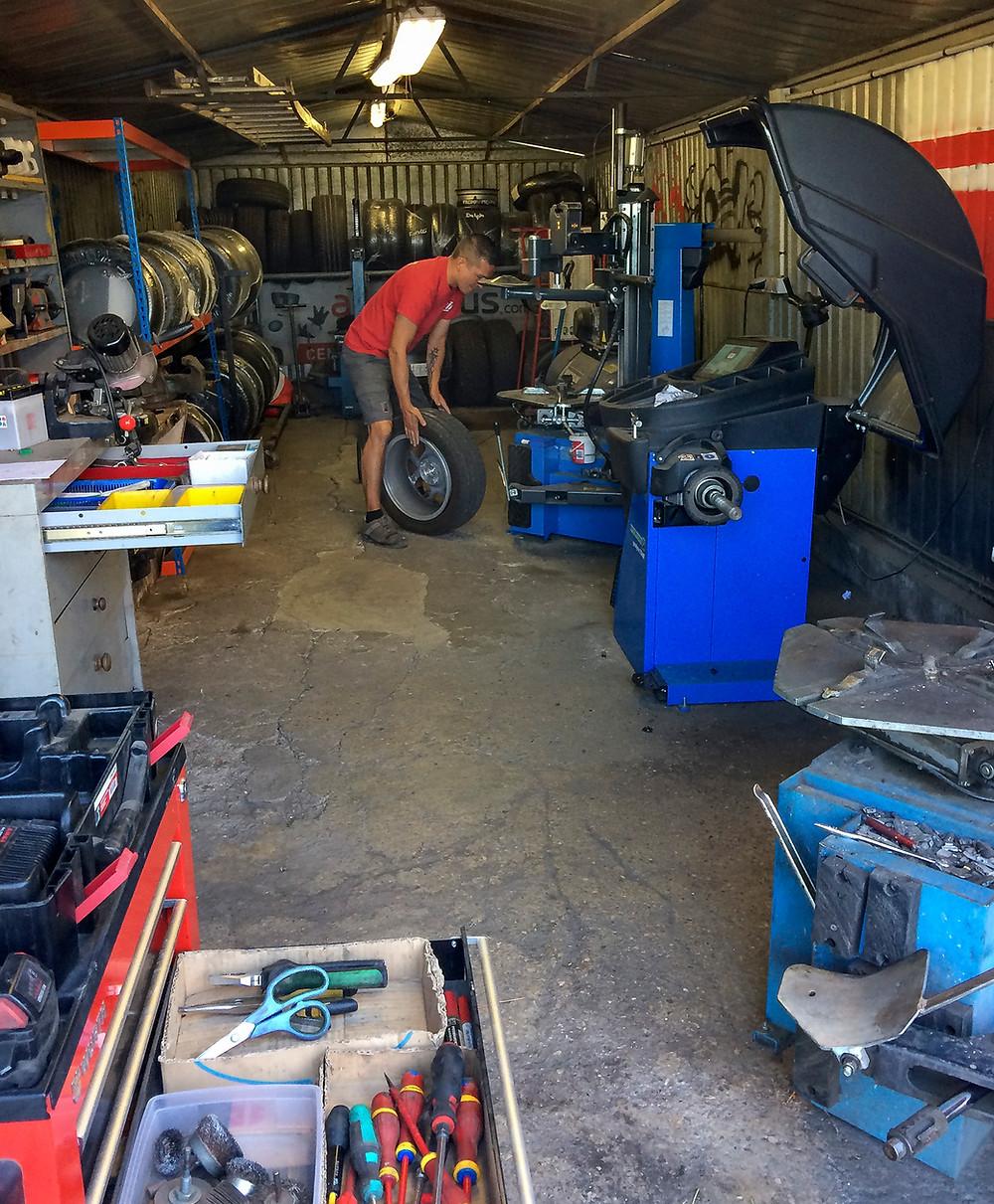 The repair underway