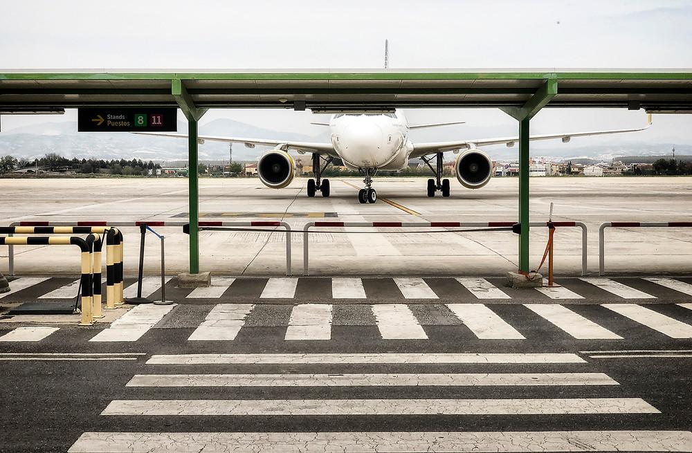 A lone aircraft arrives at Granada