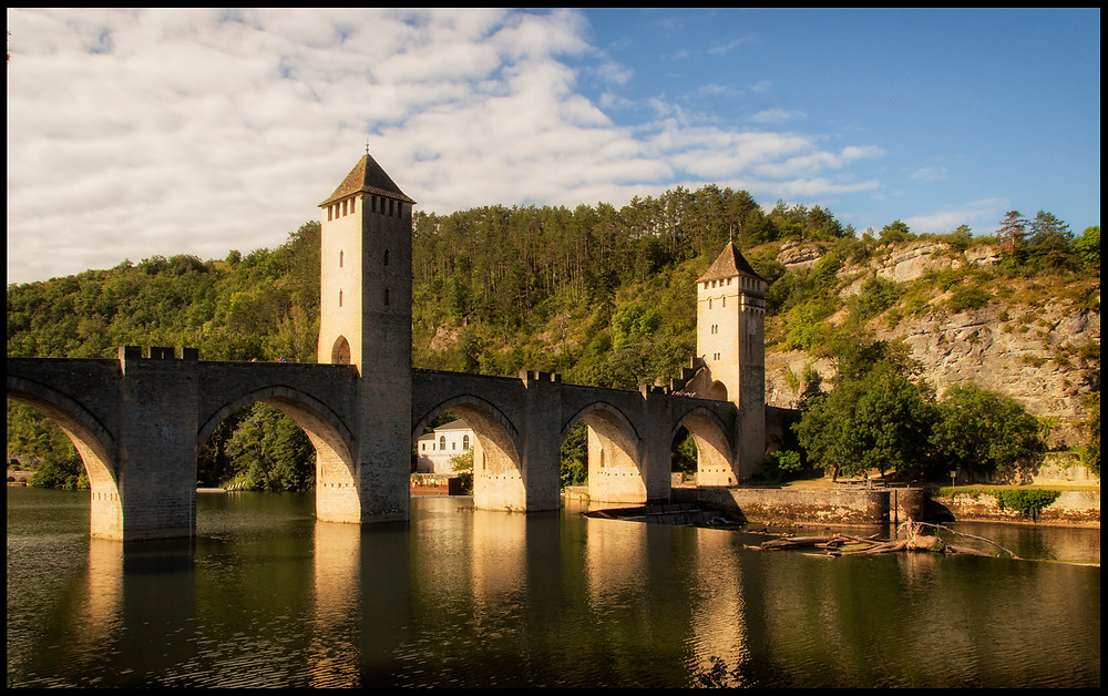 "Cahors' iconic bridge, on ""our"" arm of the river Lot"