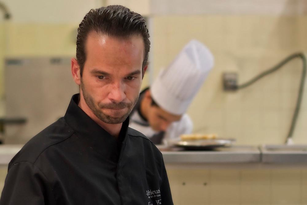 Chef Fabien Fage, in the kitchen of Le Prieuré