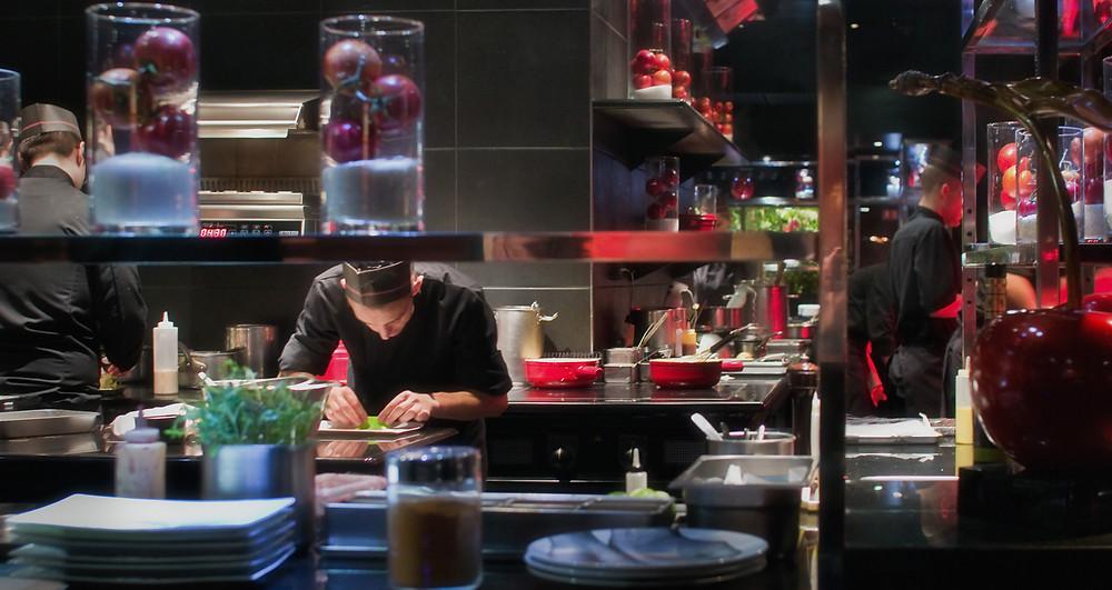 The open kitchen at L'Atelier de Joël Robuchon