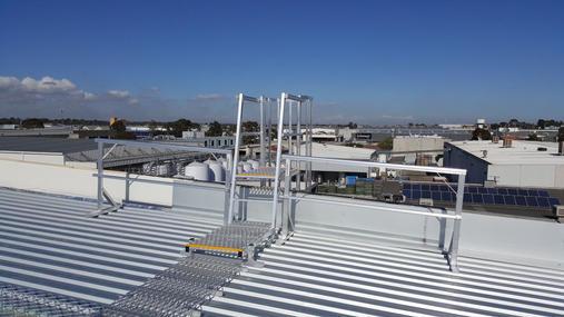 Fixed Ladder Access System. Roof Guard Rails. Aluminium Roof Walkway.