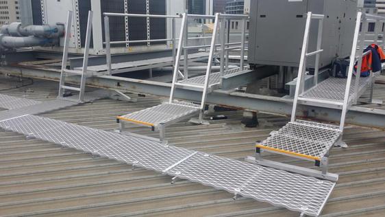Roof Walkway. Fixed Access Steps. Guard Rails.