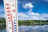 Thermometer on the background of the sum