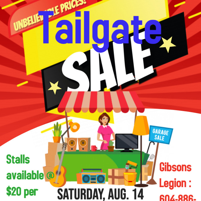 Gibsons Legion Tailgate Garage Sale Party!