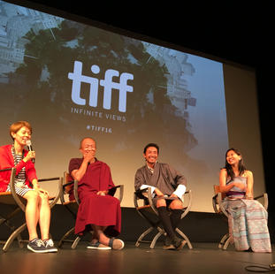 """Director Khyentse Norbu, and cast of """"Sing Me A Song While I Wait"""". Winter Garden Theatre. TIFF 2016."""
